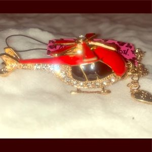 Betsy Johnson red CZ 🚁 helicopter pendant chain
